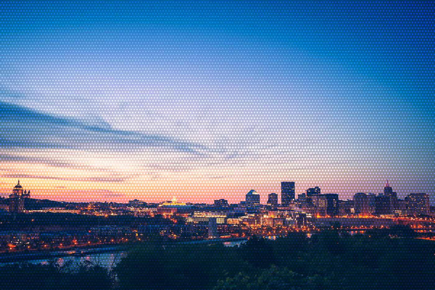 Panorama of St. Paul, Minnesota at sunset