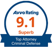 "AVVO ""Superb"" ratings badge – Top Criminal Defense Attorney image"